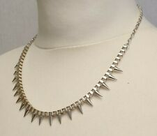 Silver Coloured spikey Spiked Necklace Punk Goth Alternative Costume Jewellery