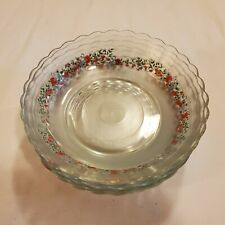 Vintage KIM Glass Soup Salad Bowls Frosted and Rose Applique Indonesia OC4B14