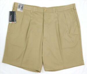 NWT Roundtree York Travel Smart Beige Pleated Front Men's Shorts B44 B48 B50 B52