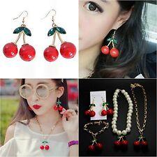 Pretty Crystal Cherry Leaf Fruit Dangle pendant drop Earrings Hook Ear Rings