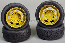 RC Car 1/10 WHEELS Tires SEMI-SLICK 3MM Offset VINTAGE GOLD STEEL    -SET OF 4-