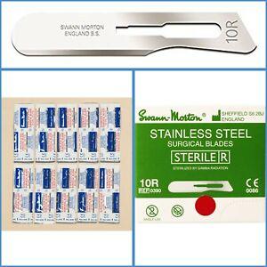 10pcs Swann Morton No. 10R Sterile Stainless Scalpel Butter Blade Dermaplaning