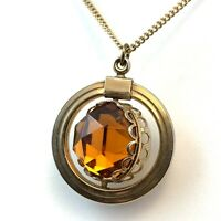 VINTAGE SPINNER NECKLACE PENDANT MOONGLOW LUCITE FACETED AMBER GLASS TWO SIDED
