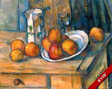 MILK JUG PITCHER PEACHES LEMON STILL LIFE PAINTING ART REAL CANVAS GICLEE PRINT