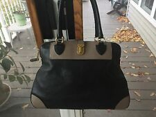 Marc Jacobs Black & Taupe Leather Whitney Tote Satchel Bag