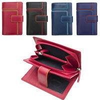 Ladies Medium Sized Leather Wallet Purse with Coin Section and Colour Detail
