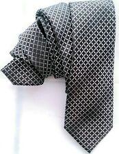 """J. Ferrar Mens Neck Tie  Black Gray Silver Check Skinny 2.75"""" by 60"""" Polyester"""