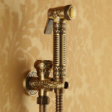 Antique Brass Bathroom Hand Sprayer Set Bidet Valve Faucet Toilet Shower Head