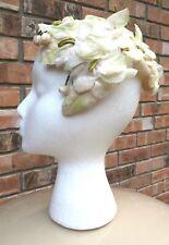 "Vintage ""Mr. Malt of Cadillac"" Ladies Ivory Hat Great Millinery Velvet Flowers"
