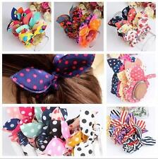 10 pc Cute Elastic Girl Rabbit Ear Bow Scrunchie Ponytail Holder Stripe Hairband