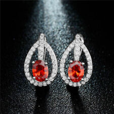 Pretty New Silver Plate Ruby Red & Crystal CZ Leverback Huggie Hoop Earrings