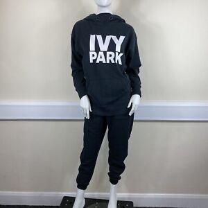 Ivy Park Ladies Black White Logo Hooded Sweatshirt Joggers Outfit UK Size 10-12
