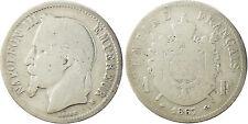NAPOLEONE III , 1 FRANCO ARGENTO TESTA LAUREATA 1867 BB STRASBURGO