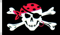 PIRATE FLAG 5' x 3' ONE EYED JACK Skull Crossbones Jolly Roger Pirates Party