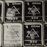 """All Seeing"" Design. Lot of 10, 1 gram .999 Fine silver bullion bar. ""NEW"""