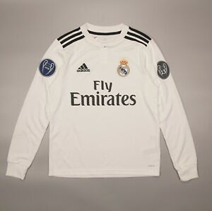 NWOT Long Sleeve Real Madrid 2018 2019 Football Shirt Jersey Adidas Youth Size L