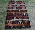 High Quality Oushak Ethnic Kilim Runner Rug Turkish Vintage Wool Carpet 3x5 ft