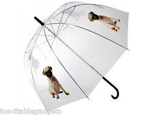 Pug Dome Umbrella Super Cute Kids Girls Love Pugs Stocking Filler Gift