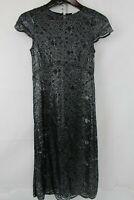 L'AGENCE Rayon, Nylon & Silk Blend Black & Silver Floral Mesh Shift Dress Size 4
