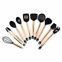 11PCS Set Of Copper-plated Handle Silicone Nonstick Cooking Kitchen Utensils Kit