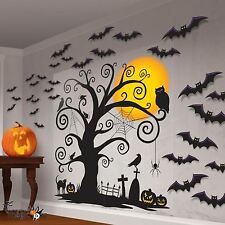 Halloween Spooky Tree Family Friendly Graveyard Scene Setter Wall Decoration Kit