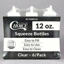 6 PACK12 oz CLEAR SQUEEZE BOTTLES CONDIMENT DISPENSER KETCHUP VINEGAR MAYO OIL