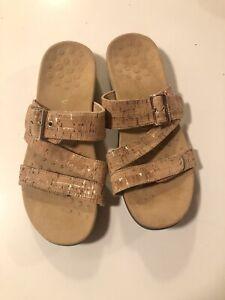 Vionic Skylar Sandals Women's Adjustable Slide Orthotic Size US 10 Cork Gold
