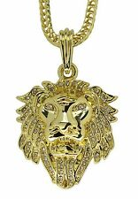 "Lion Head 14k Gold Plated Iced Out Cz  24"" Franco Necklace Mens Womens Hip Hop"