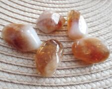 Citrine Tumblestones 5 Madeira Citrine Crystals 15mm to 17mm Rich and Earthy