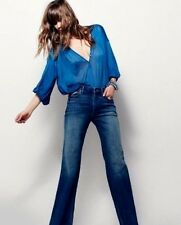 FREE PEOPLE JEANS CINDI FLARE HIGH RISE SKINNY-STRETCH JEANS MALLISON BLUE 30/10