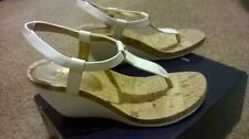 LADIES SIZE 8 CHAPS WEDGE CORK SANDAL RAEVYN WHITE CYSTAL LIZARD NEW IN BOX