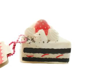 NIC CAFE DE N Chocolate Strawberry Shortcake Kawaii RARE Squishy Cake Charm Toy