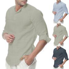 Summer Mens Linen Short Sleeve Shirt Cool Loose Casual Shirts V-Neck Top T Shirt