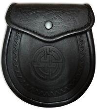 Embossed Celtic Leather Sporran Scottish Kilt Wallets