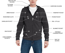BauBax Sweatshirt Travel Jacket With 15 Features Mens Large Charcoal