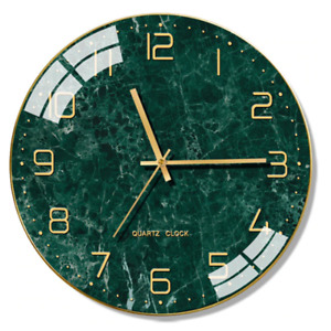 Modern Silent Wall Clock Marble Clock Style Glass Living Room Home Decoration