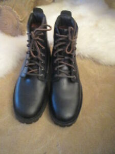 MENS FRYE BLACK LEATHER LACE FRONT WORK BOOTS, SZ 9,5 NEW