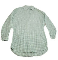 Men's White Green Check Peter Millar Dress Shirt Button Down Medium