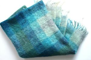 Vintage Mohair Travel Picnic Knee Rug Made for Eatons in Scotland Blue Turquoise