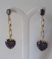 Formal Black Crystal Heart Shaped Earring