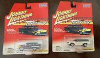 Lot of 2 Johnny Lightning Thunder Wagons '57 Chevy Nomad & 1950's Custom Badnews