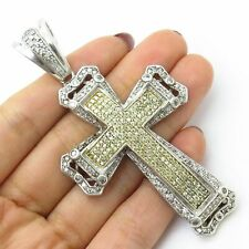 "Large Solid Jesus Cross 925 Silver 6Ct Diamonds 3.25"" BIG Hip Hop Men Pendant"