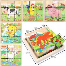 Wooden Cube Blocks For Kids Toddler Educational Play Toy Puzzle. - Farm Animals