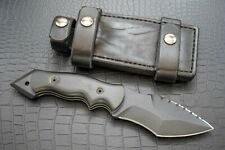 Custom Brian K Johnson Warthog, Black Gun Koted D2, (2) Blk Leather Sheaths