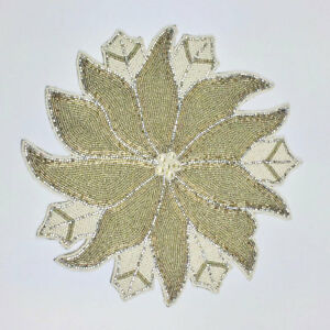 """Beaded Round 15"""" Christmas Poinsettia Silver Gold Charger Placemat Nicole Miller"""
