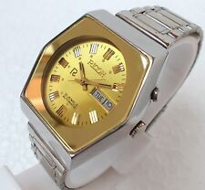 RICOH AUTOMATIC WIND DAY DATE SQUARE GOLDEN DIAL STEEL CASUAL MENS WATCH 37MM