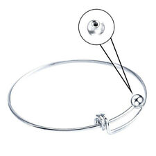 5PCS 2.56inch Wire Blank Cuff Silver Bangle Bracelet for Kid Girl Jewelry Making