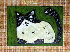 ACEO original pastel painting outsider folk art brut #010525 surreal funny cat