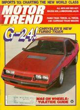 1982 Motor Trend Magazine: G-24 Chrysler's New Turbo Tiger/Lamborghini Jalpa