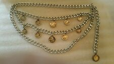 Silver Chain Link Belt Triple Drop Elizabeth II Coins Vintage Belt